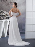 Empire cut strapless draped chiffon bridal dress