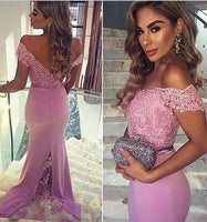Deep V-neck V-back Floor Length  Prom Dress  I079
