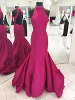 Halter Neck Open Back Mermaid Long Prom Dress Fashion Winter Dance Dress  LP288