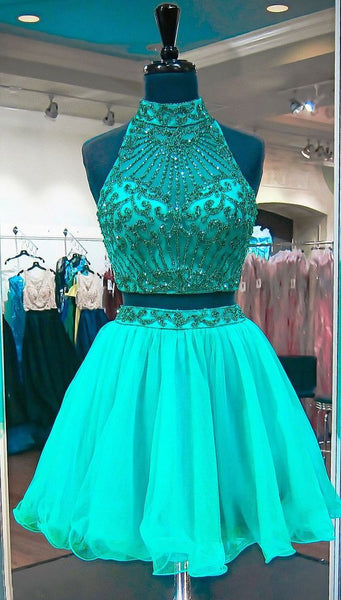 Short Two Pieces Homecoming Dress With Beading Graduation Dresses Dance Dress Sweet 16 Dress SW110