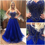 Strapless Sweetheart Long Prom Dress ,Beaded Royal Blue Formal Dresses ,Modest Wedding Party Dress LP210