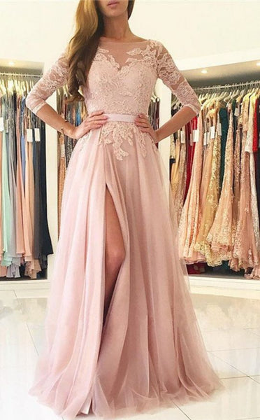 A-line Long Prom Dress With Sleeves Semi Formal Dresses Wedding Party Dress LP168