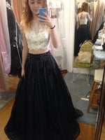 Two Piece Long Prom Dress Semi Formal Dresses Wedding Party Dress LP124