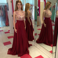 Chiffon Floor Length  Prom Dress With applique and beadings  I080