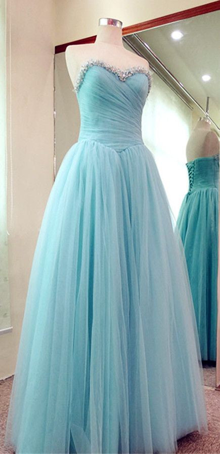 Sweetheart Floor Length Tulle Prom Gown With Beading I057