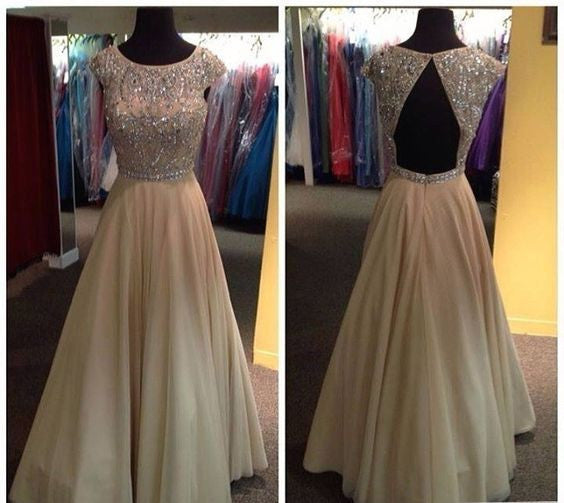 Beaded Floor Length Prom Dress With Cap Sleeves I059