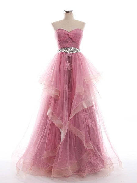 Sweetheart Floor Length Tulle Prom Gown Dress  I064