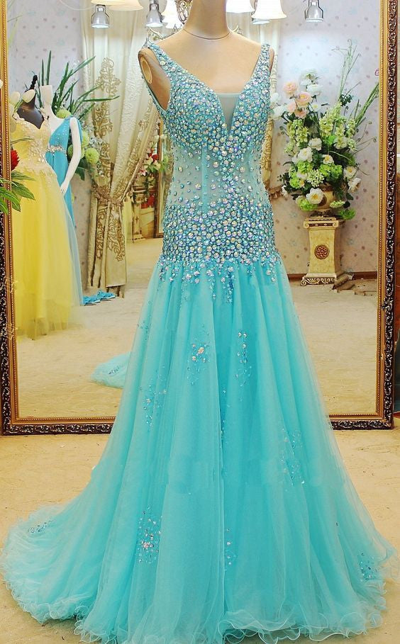 Beaded Floor Length Tulle Prom Gown Dress  I065