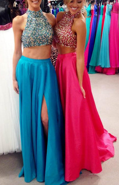 High Halter Neck Tow Pieces Beaded Prom Dress , Long Formal Dress PI016