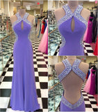 Backless Beading Floor Length Prom Dress I1066