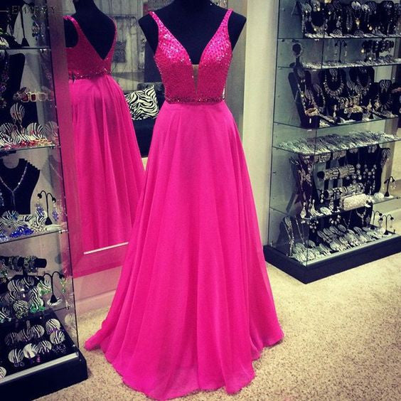 V-neck Beading Floor Length Prom Dress I1068
