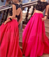 Two Piece Red Black Long Prom Dress I1203