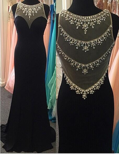 Black Beading Long Prom Dress I1204