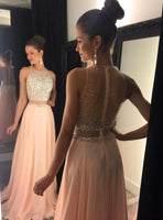 Two Piece Pink Beading Long Prom Dress I1205