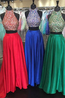 Two Piece Beaded Floor Length Prom Dress  I188