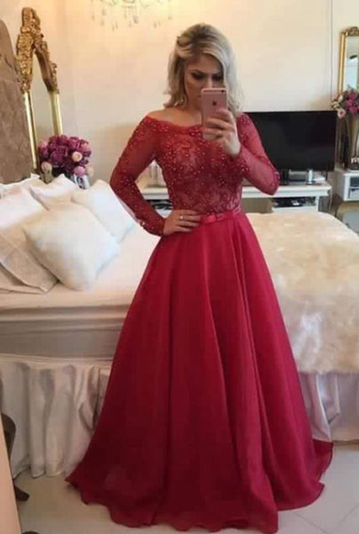 A-line Long Prom Dress Long Sleeves Semi Formal Dresses Wedding Party Dress LP164