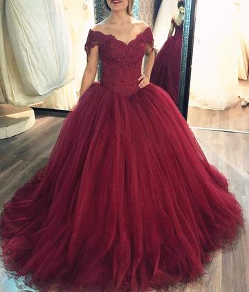 Red Off the Shoulder Ball Gown Wedding Dress
