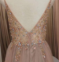 A-line Beaded Long Prom Dresses Fashion Winter Formal Dress Popular Party Dress LP415