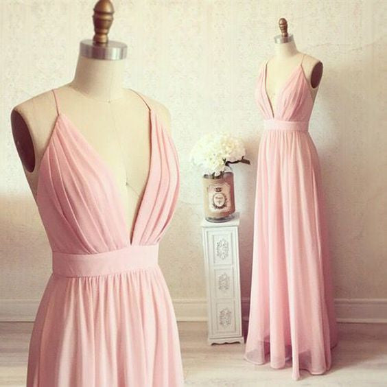Deep V-neck Floor Length Chiffon Prom Dress I093