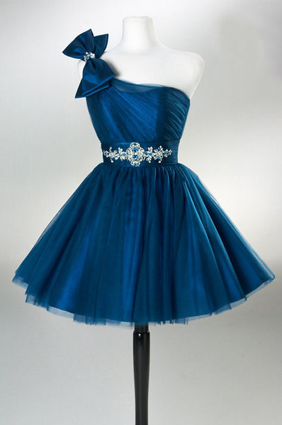 Short Prom Dress,Mini Skirt Evening Dress,One shoulder homecoming dress I0076