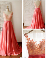 V-back Long Prom Evening Dress With Applique I116