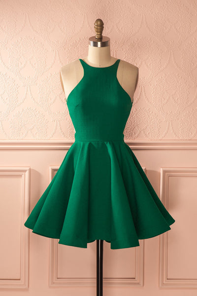 Fashion A-Line Halter Backless Green Homecoming Dress SW069