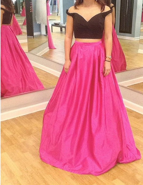 Two Piece Long Prom Dress Formal Dresses Wedding Party Dress LP101
