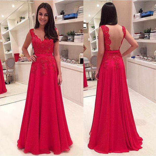 A-line Long Prom Dress With Applique and Beading Semi Formal Dresses Wedding Party Dress LP130
