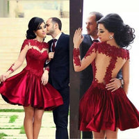 Red Short Prom Dress ,homecoming dress with long sleeve  I1033