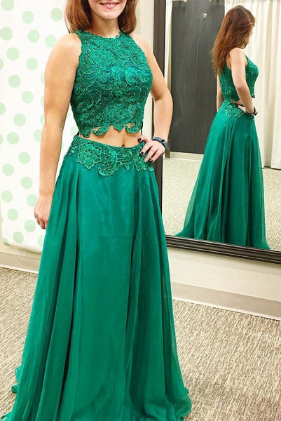 Two Piece Long Prom Dress With Applique and Beading Semi Formal Dresses Wedding Party Dress LP131