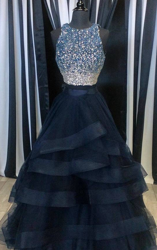 Two Pieces Beading Long Prom Dress , Long Winter Formal Dress P023
