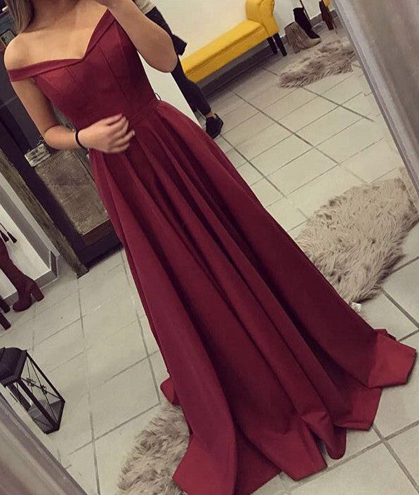 Fashion Off-Shoulder Simple Long Prom Dress , Long Winter Formal Dress P022