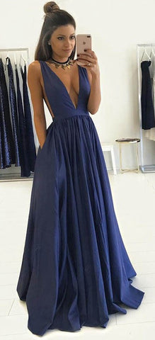 Deep V-neck Fashion Sex Long Prom Dress , Long Winter Formal Dress P027