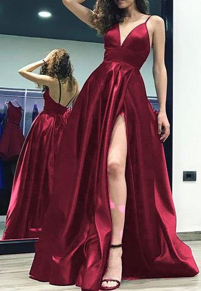V-neck Long Prom Dresses With Slit Fashion Winter Formal Dress Popular Wedding Party Dress  LP361