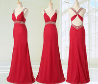 Deep V-neck Long Prom dress With Beadings