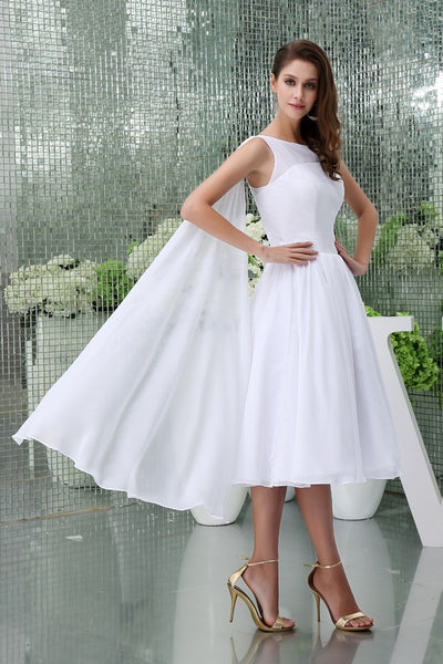 Sleeveless bateau neck chiffon bridal dress with shoulder draping