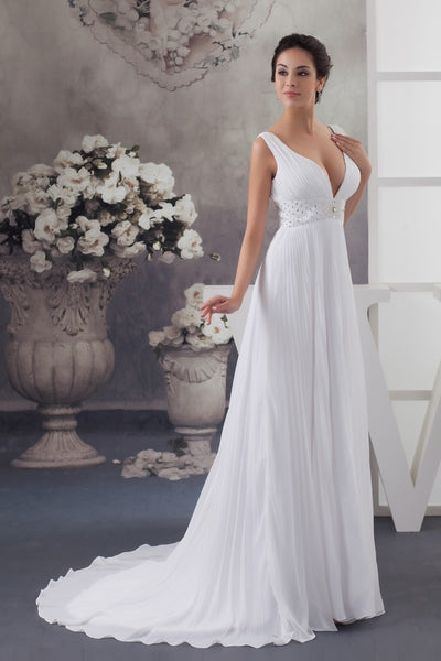 Sleeveless deep v-neck chiffon bridal dress