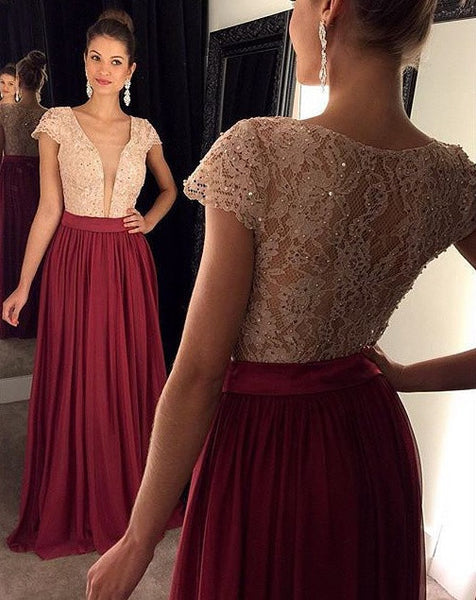 Cap Sleeves Beading Prom Dresses Long Formal Dress  SP1069