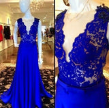 Lace Applique Prom Dresses Long Formal Dress  SP1094