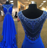 Cap Sleeves Beading Prom Dresses Long Formal Dress  SP1095