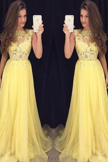 Cap Sleeves Applique Prom Dresses Long Formal Dress  SP1099