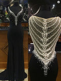 Black Beading Prom Dresses Long Formal Dress  SP1102