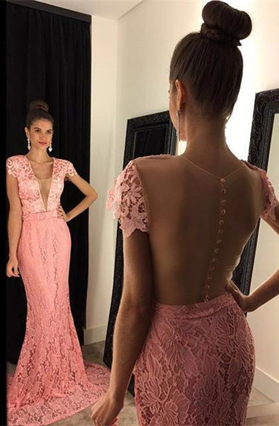 Lace Applique Prom Dresses Long Formal Dress  SP1104
