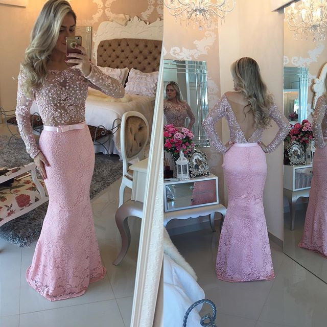 Lace Pearls Prom Dresses Long Formal Dress  SP1105