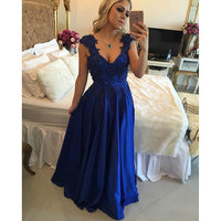 Applique Pearls Prom Dresses Long Formal Dress  SP1106