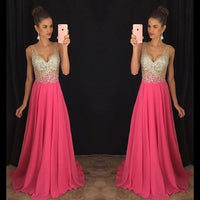 V-neck Prom Dresses,Beading Long Formal Dress SP1139