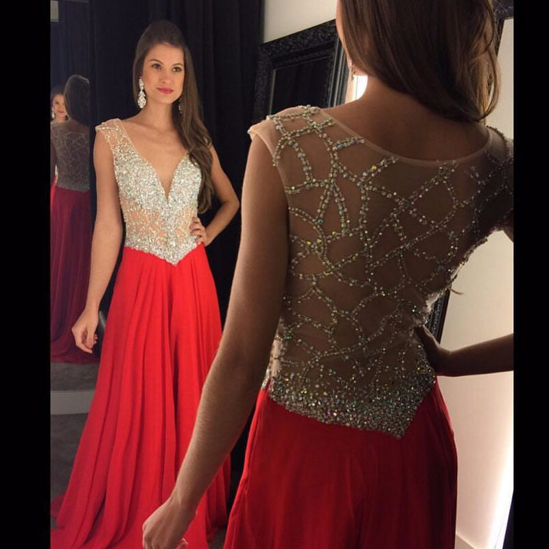 Red V-neck Prom Dresses,Beading Long Formal Dress SP1140