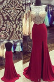 Backless Fashion Prom Dresses, Beading Long Party Dress SP1174