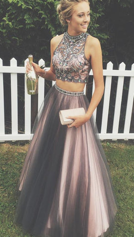 Fashion Two-Piece High Neck Floor-Length Rhinestone  Beaded Prom Dress P1181