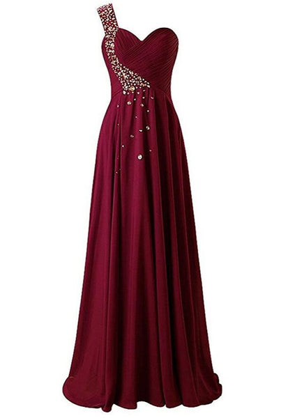 One Shoulder Prom Dresses,Beading Long Formal Dress SP1202